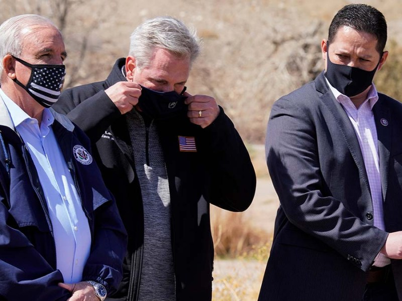 Florida Congressman Carlos Gimenez, House Minority Leader Kevin McCarthy and Texas Congressman Tony Gonzales attend a delegation trip to the U.S. southern border with Mexico in El Paso, Texas, on March 15, 2021.
