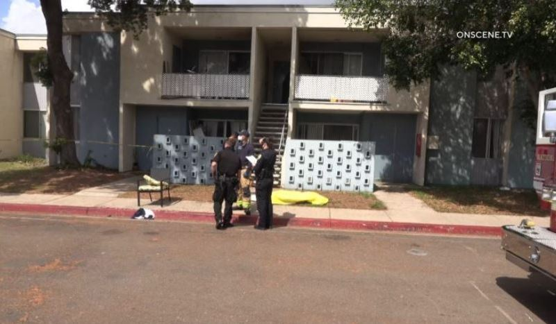 Police outside apartment building