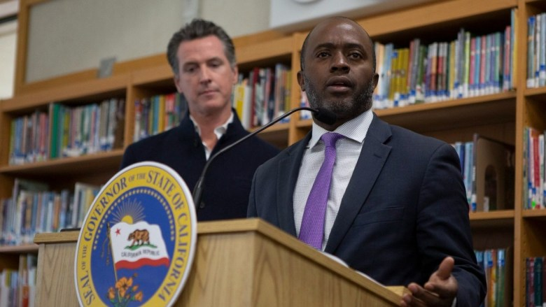 Tony Thurmond at a press conference