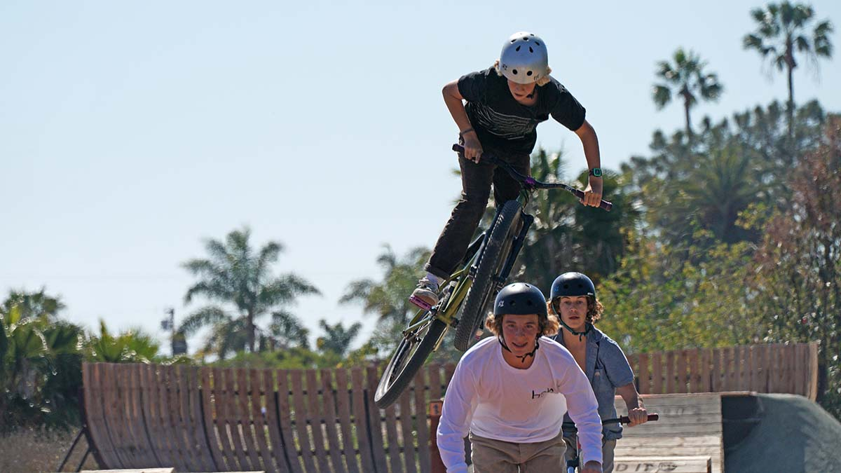 Young people tried out new bike park.