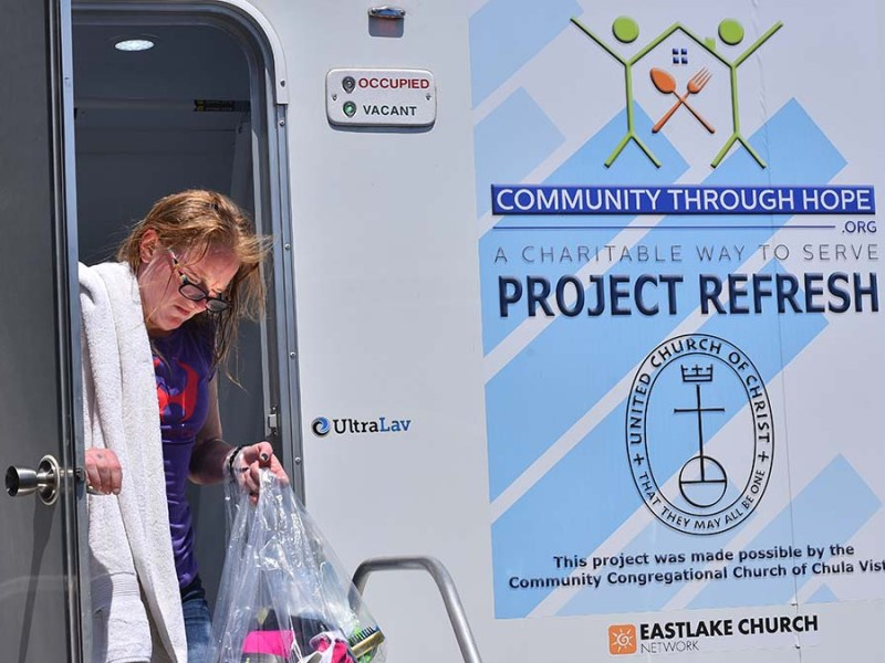 Amber, 29, of Chula Vista was grateful for a shower provided by a new South Bay service, Project Refresh.