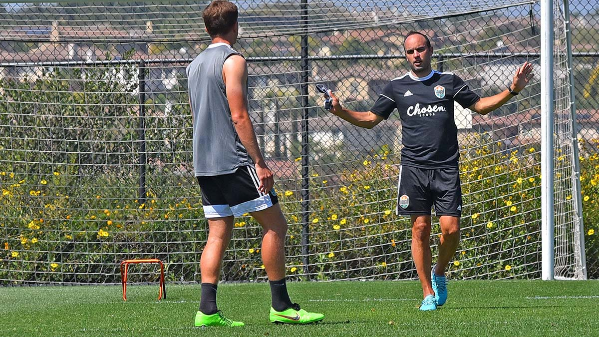 Landon Donovan gives direction to Josh Kenworthy, 18 (left) during a practice at the Chula Vista Elite Athlete Training Center.