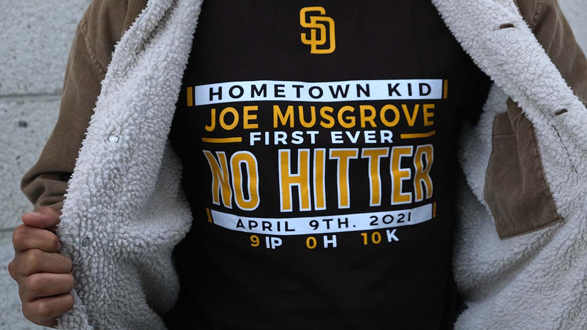 "Ground Floor Murals painters wore T-shirts proclaiming a Padres no-hitter by a ""hometown kid."""
