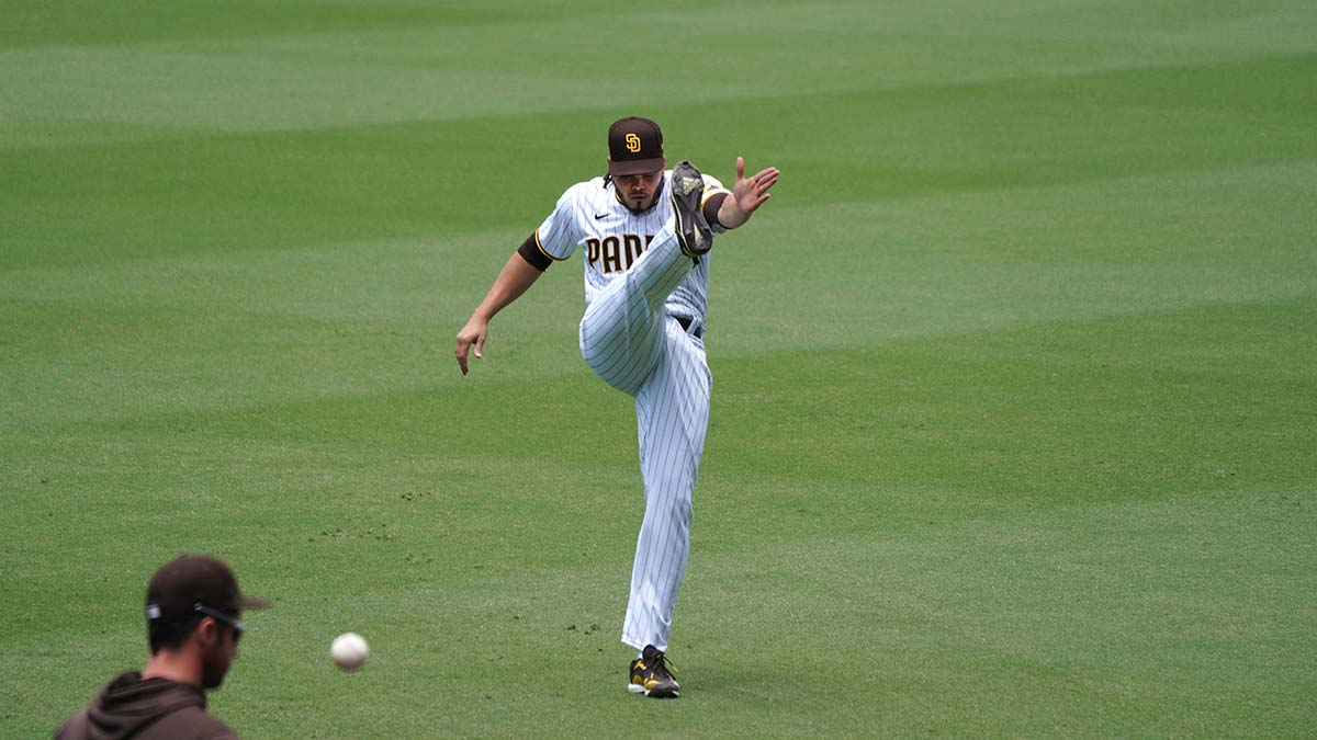 Pitcher Dinelson Lamet warms up before the game. Photo by Chris Stone