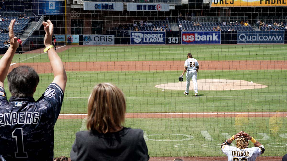Fans welcome pitcher Dinelson Lamet as he takes the mound.