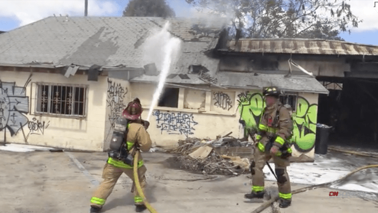Firefighters quell warehouse fire in Barrio Logan — the third at same site in past two days.
