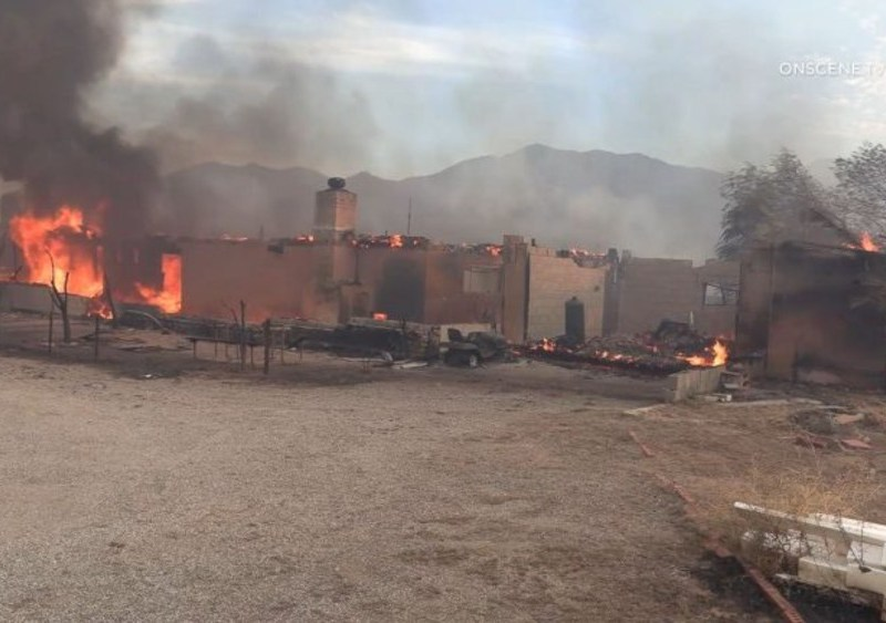 A burning building in Shelter Valley