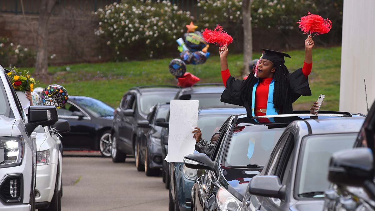 About 350 students registered to participate in San Diego City College's drive-through 2021 commencement. Photo by Chris Stone