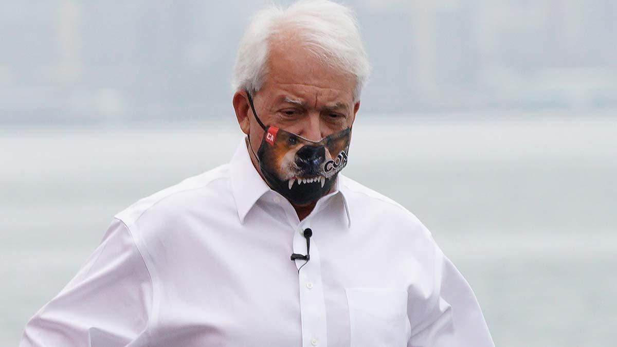 San Diego Businessman John Cox sports a bear mask on the campaign trail. Photo by Chris Stone