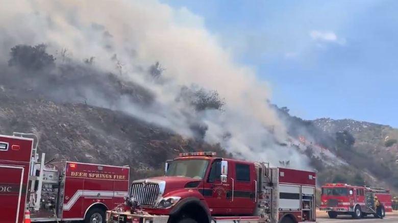Fire trucks on I-15