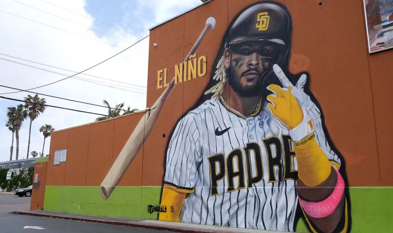 Padre player Fernando Tatis Jr. is depicted in a mural in Ocean Beach created by artists Paul Jimenez and Signe Ditona of Ground Floor Murals. Photo by Chris Stone