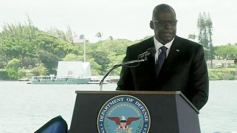 Lloyd Austin speaks in Pearl Harbor