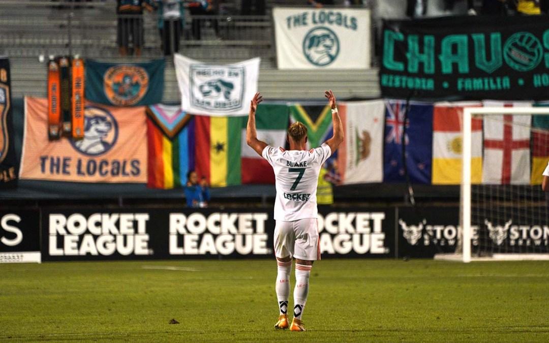 Jack Blake celebrates after a goal. Photo by Chris Stone
