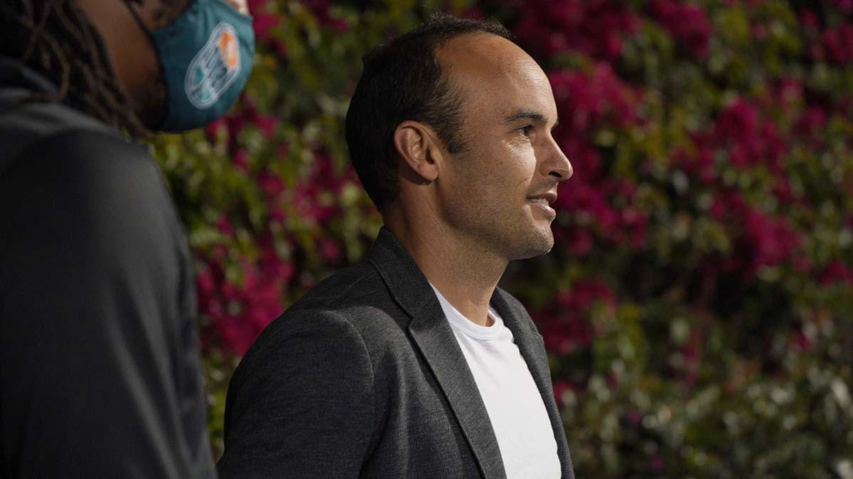 Loyal manager Landon Donovan smiles after his time won its first match of the season. Photo by Chris Stone