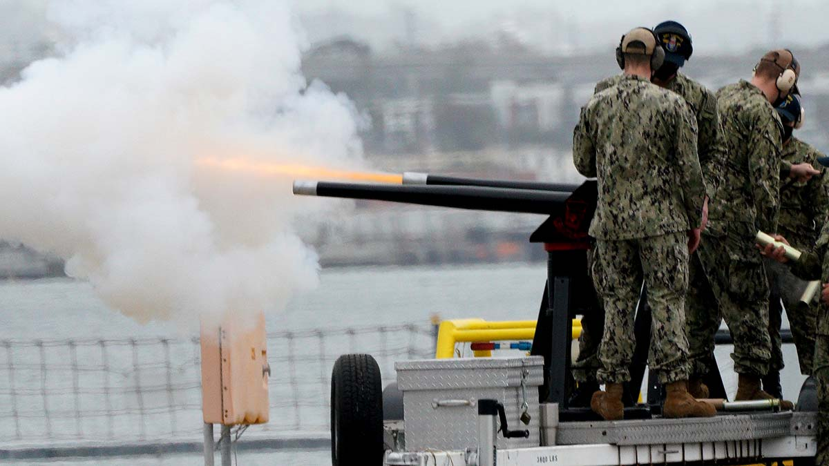 Cannon on dock at North Island Naval Air Station were fired during commissioning of the USS Miguel Keith.
