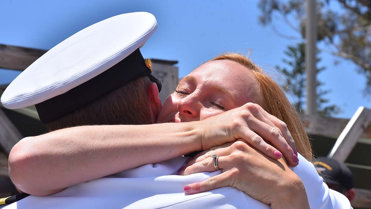 John Millar gets a warm embrace from his wife, upon his return to Air Station North Island after a seven-month deployment. Photo by Chris Stone