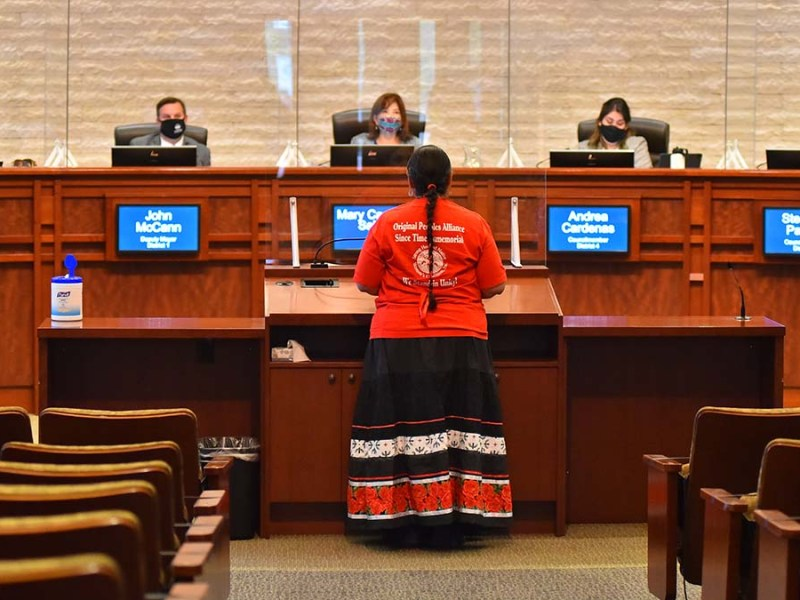 Grace Sesma of the Original Peoples Alliance speaks to the Chula Vista City Council.