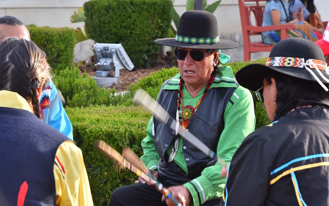 A traditional Kumeyaay drum circle kept a steady beat for several hours outside Chula Vista City Hall.