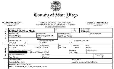 Autopsy report on Elena Marie Lisowski (PDF)