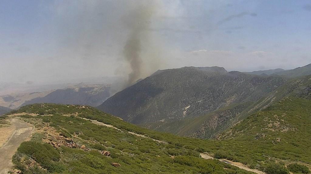 Smoke from fire in Canebreak Canyon