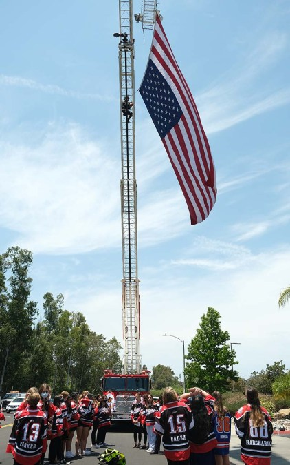 The San Diego Fire Department displays a flag outside the chapel. Photo by Chis Stone
