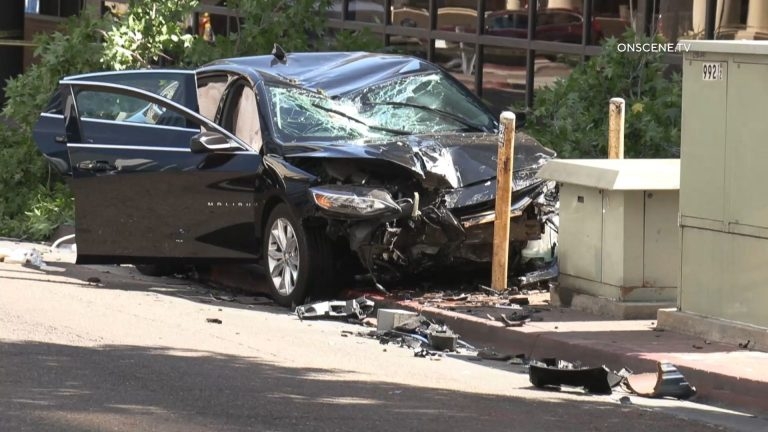 Victim's wrecked car