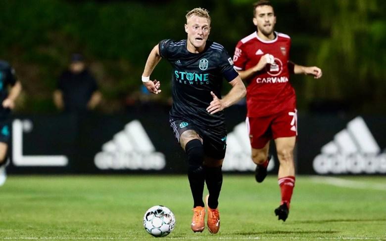 SD Loyal midfielder Jack Blake scored two goals against Phoenix Rising to keep his team unbeaten. Photo by Carey Schumacher/SD Loyal