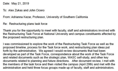 """Email on """"restructuring plans task force"""" from Adrianna Kezar of USC."""