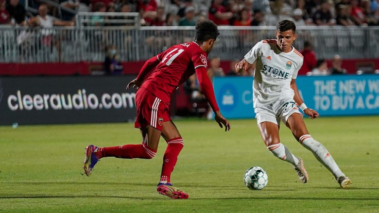 Miguel Berry (right) scored the first of two goals against host Phoenix Rising FC. Photo courtesy of San Diego Loyal