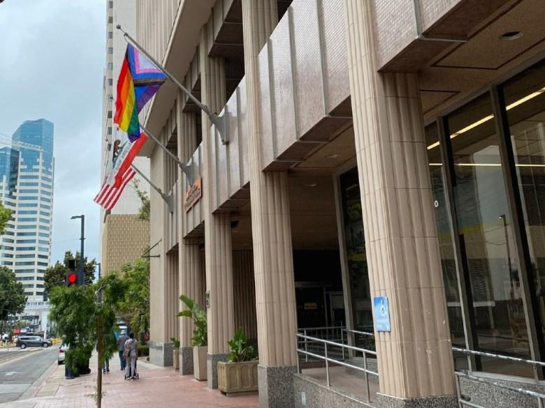 Pride flag at City Hall