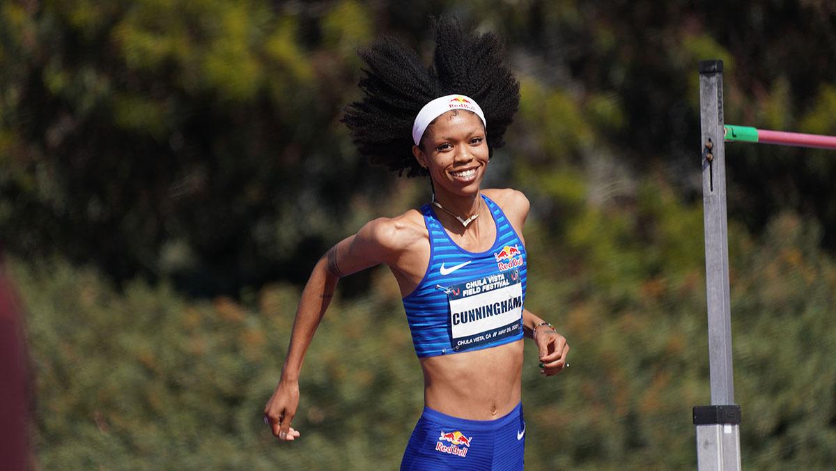 Vashti Cunningham celebrates after jumping world leading mark this year.