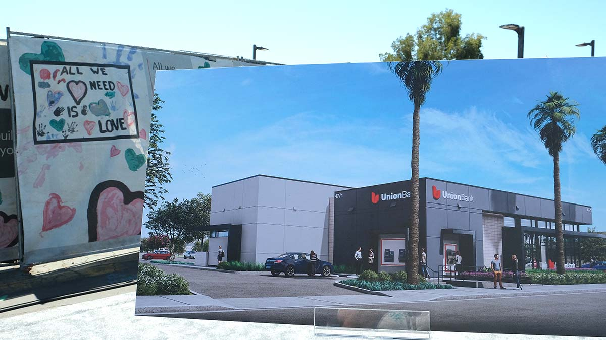 An artist's rendering of the new bank was on display. Photo by Chris Stone