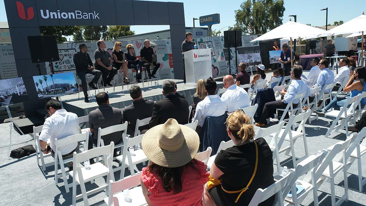 About 50 people attended the groundbreaking for the new bank. Photo by Chris Stone