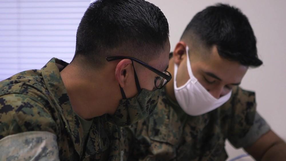 Marines wearing masks