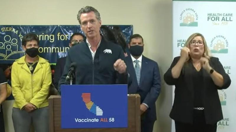 Gov. Gavin Newsom speaks in Fresno