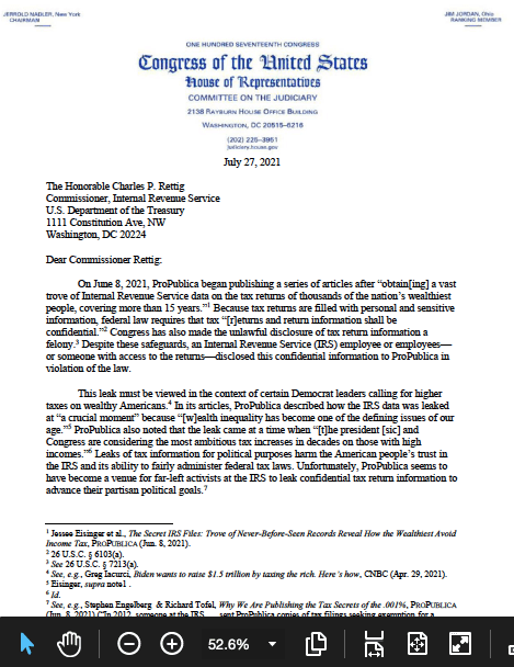 Issa-George letter to IRS Commissioner Charles Rettig