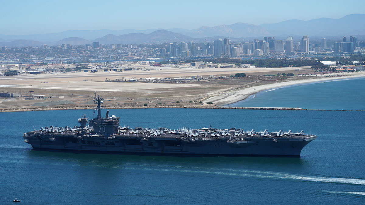 The USS Carl Vinson heads out for deployment after being refurbished in Washington state. Photo by Chris Stone