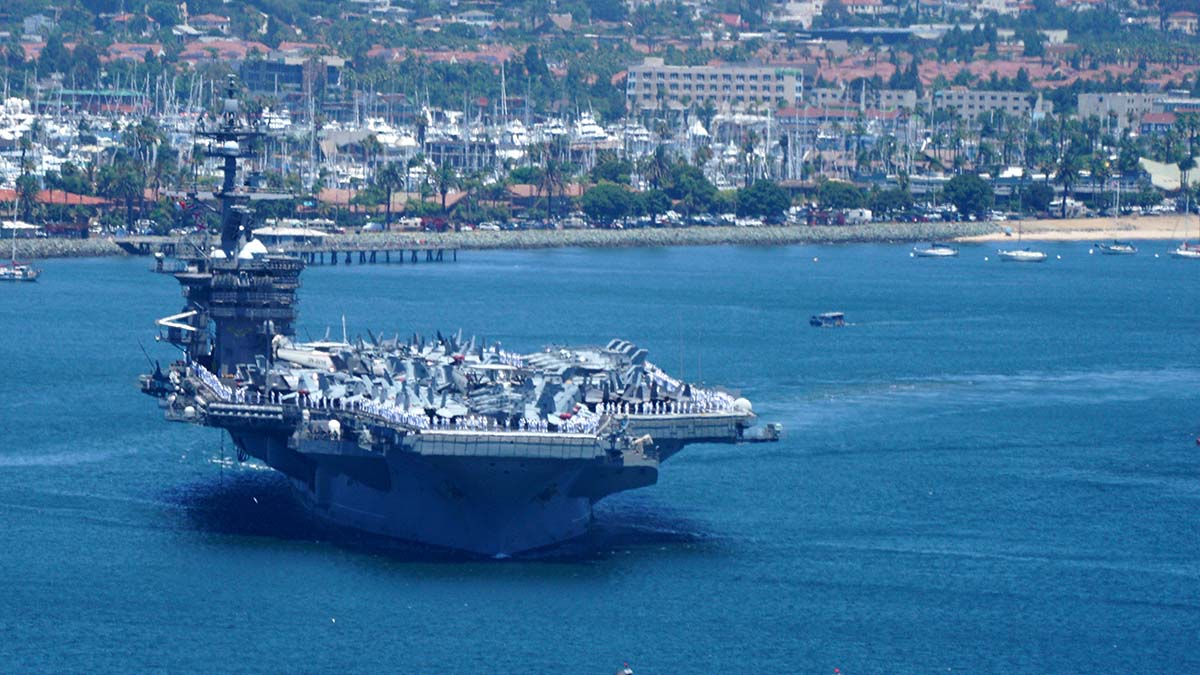 With a flight deck area of 4.5 acres, the carrier can hold more than 60 aircraft.