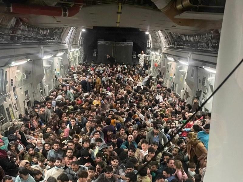 Evacuees on a C-17