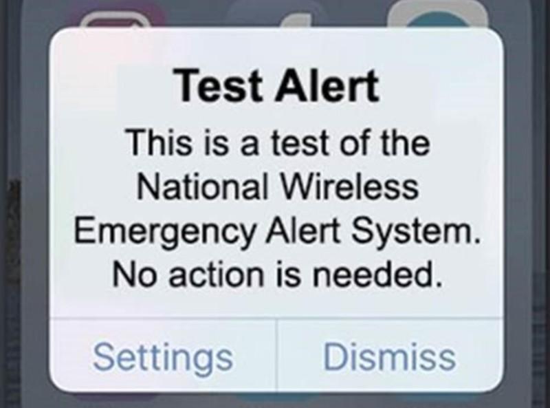 Alert message on smartphone