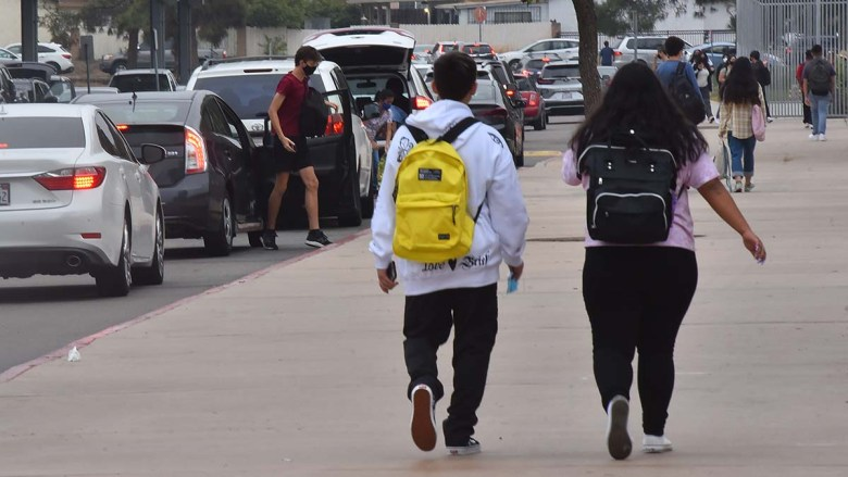 Mira Mesa High School students are dropped off on the first day of school. Photo by Chris Stone