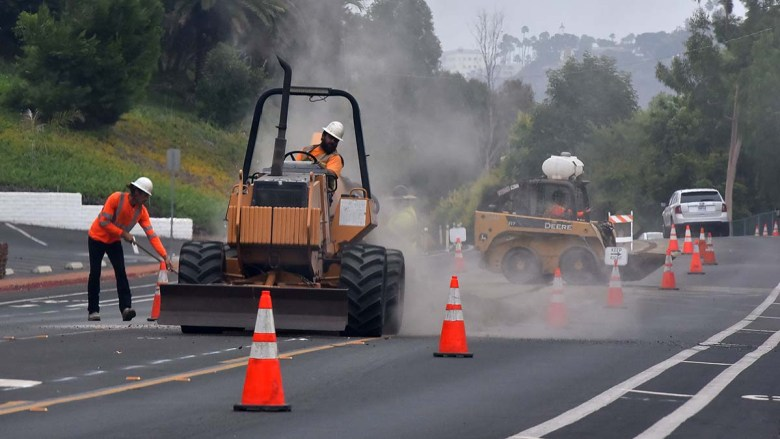Road construction on San Diego Mission Road. Photo by Chris Stone