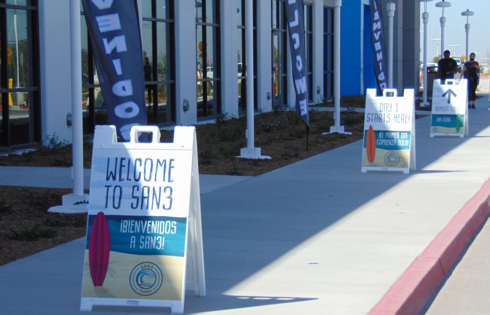 Signs welcome new employees