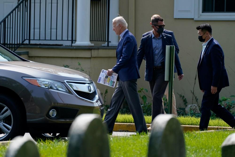 President Biden leaves church after Mass