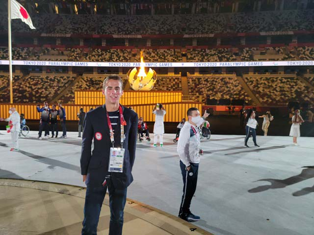 Joel Gomez wore the same outfit for the Paralympic Opening Ceremonies as Team USA Olympians did in July.