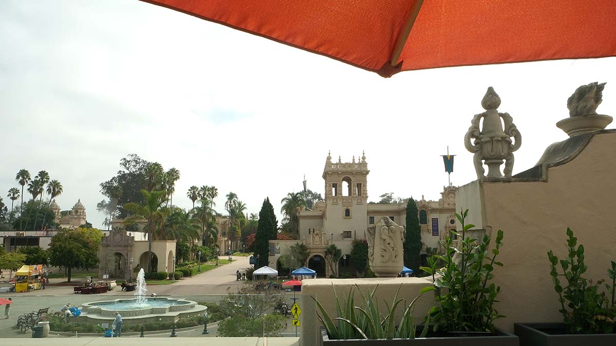 A view of Balboa Park from a new second-floor terrace at the Mingei International Museum. Photo by Chris Stone