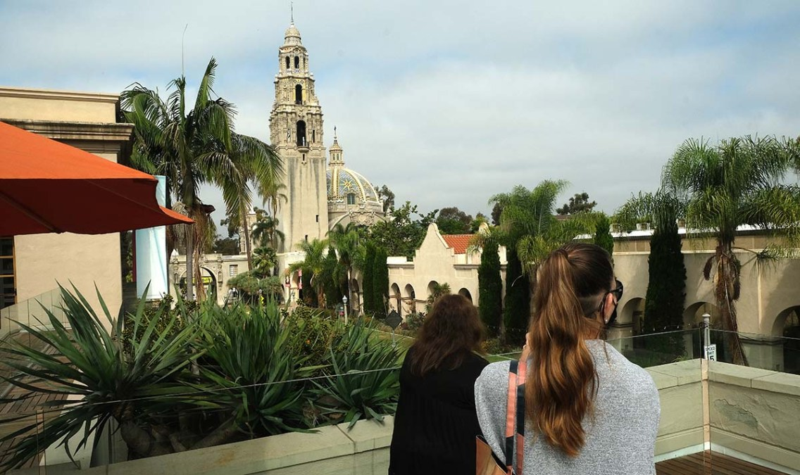 Visitors admire the view of Balboa Park from one of the gallery-level terraces. Photo by Chris Stone