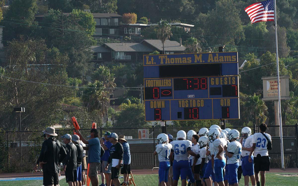 Grossmont High School students play football on Lt. Thomas M. Adams Field. Photo by Chris Stone