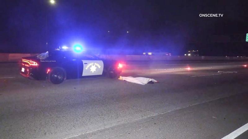 Body of victim on freeway
