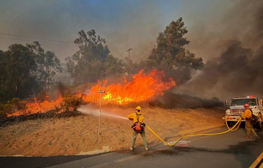 Firefighters battle wildfire in Santa Barbara County